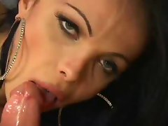 Brazilian Shemale Slurping Down Dick