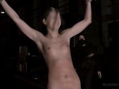 Handcuffed sweet Lily&amp,#039,s naked body was bullwhipped cruel.