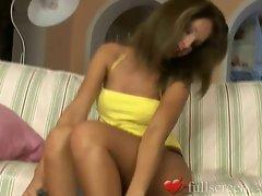 Horny young girl with nice natural boobs masturbates
