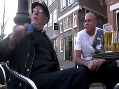 Out on a walk in Amsterdam with host and horny tourist