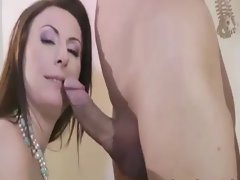 Mature in stockings sucking dong