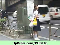 Horny japanese girl gets fucked in public video 11