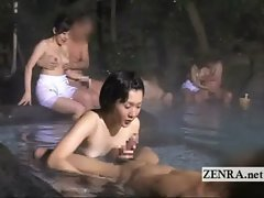 Idyll Japanese outdoor mixed bathing group foreplay