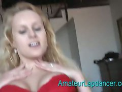 Busty blonde bitch does lap dance
