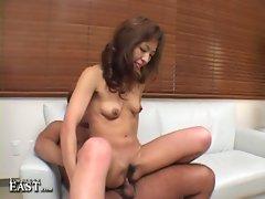 Hot slutty japanese babe loves cock slamming