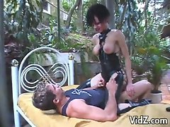 Hot tranny bitch showered with warm jizz in outdoor fucking