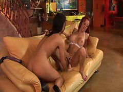 Hot redhead milf and brunette teen toying each other pussy