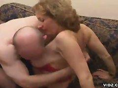 Old wrinkled blonde slut eats up cock