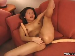 Oriental slut has stretchable holes for filthy toys and hot lesbian
