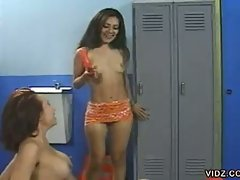 Sweet pussy juice squirts all over the locker room