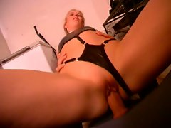 A gorgeous babe get hard fucked by a stiff dude