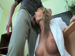 Hot blonde school girl in stockings open wide for hardcore fucking