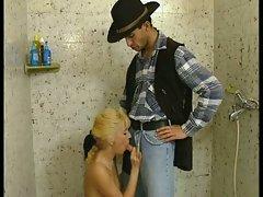 Cowboy fucks hairy blonde babe
