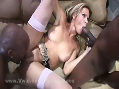Big boobies horny blonde babe welcomes two monster black boners