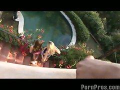 Poolside girls splashed with cum!