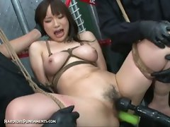 Asian chick toyed by two men with hardcore toys
