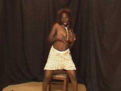 Horny big tits ebony temptress nasty solo teasing encounter