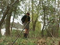 Cute brunette in the woods gets fucked