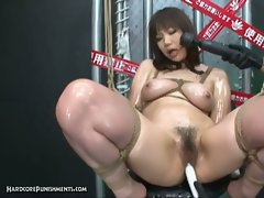 Intense japanese device suspension bondage in a sex video