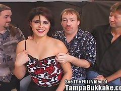 Group of filthy horny old daddies gang fucking hot brunette slut