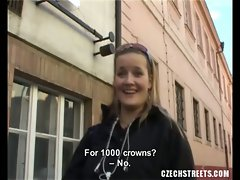 Czech girl from the streets agree to show her intimate parts for money