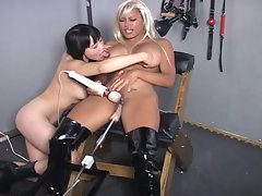 Busty ebony slave bondage machine sex