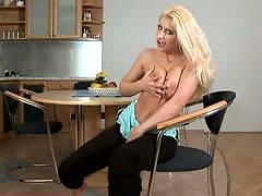 Pantyhose blonde babe nicoletta sloppy blowjob