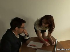 Office sex with brunette zoe voss who has torn stockings