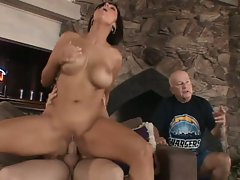 One babe gets fuck on by mature guys