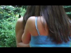 Two horny seductive babes licking pussy to each other in the outdoor