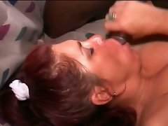 Readhead milf fucked by double black cock !