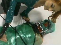 Sexual slave molested by big dildo