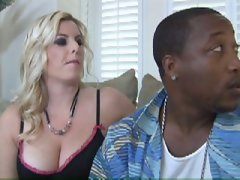 Busty blonde babe fucked by a big black cock