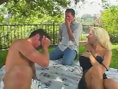 The busty slut enjoy hardcore sex with two big cock
