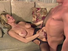 Busty blonde milf nasty erotic passions with huge boner on couch