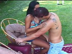 Horny latin tranny riding huge boner down his ass outdoors