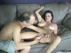 See how this old, dirty grandpa teaches this young, skinny slut how...