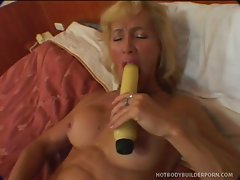 Horny blonde Victoria engaging her tight little snatch in some dirty...