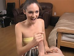 Teenier bopper Monica helps Billy burst by stroking his big strong...