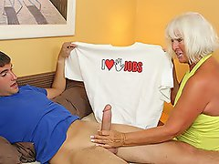 Grandma Jennie Lou catches Billys t shirt while doing laundry. The...