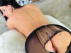Hot India Summer gets a messy cumshot on her pretty leggings...
