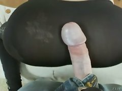 He rips her legging so he can bump her pussy from behind!...