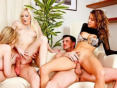 3 horny girls split from the group to please 2 men together!...