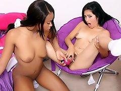 Slutty chicks Andrea Kelly and Nina Sunshine are girlfriends who love...