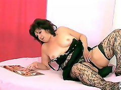 Emily sure looked yummy in her lacy black stockings and lingerie. She...