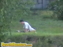 Spy sex in the grass...