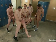Dylan Ryan lives out her fantasy of being gangbanged in the locker...