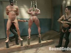 Derek Pain and Jessie Colter endure extreme bondage suspensions....