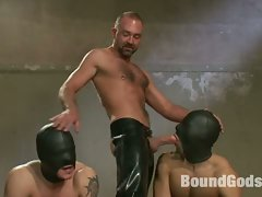 Trent Diesel and Leo Forte are kept in metal bondage and fucked...