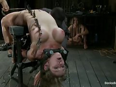 Big titted MILF is bound, zippered and made to cum and squirt over...